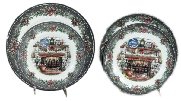 Christmas Fireplace Pottery Plates Dinnerware Set of 4  Royal Stafford