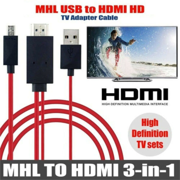 HD TV Cable Adapter 11Pin 5Pin MHL Micro USB to HDMI For Android Samsung Phones