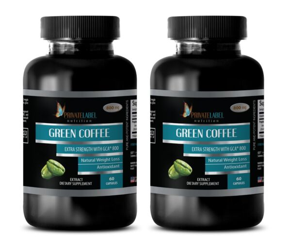 Green Coffee Bean Extract GCA 800 - Detoxify Your Body Fat Burner Pills - 2 Bot