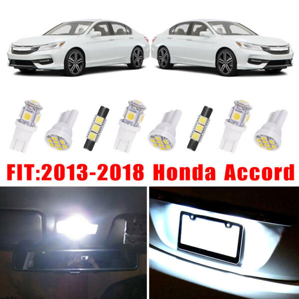 14x White LED Bulb Interior Lights Package Kit For 2013-2017 2018 Honda Accord