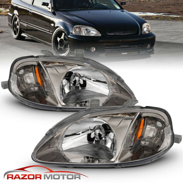 1999 00 Replacement Gunmetal Headlights for Honda Civic 2 3 4 Door EK EJ EM JDM