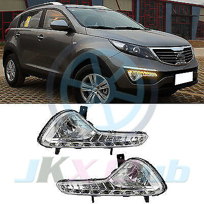 Clear LED DRL Daytime Running Lamp&Turning Signal For KIA Sportage Sport 10-14