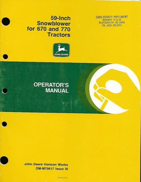 OPERATORS MANUAL FOR 59 INCH SNOWBLOWER FOR 670 AND 770 TRACTORS