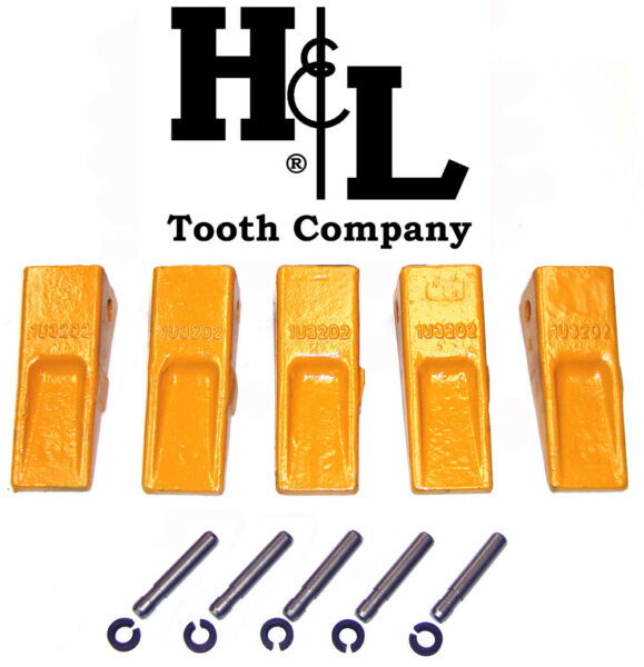 1U3202 Cat Style J200 Bucket Teeth (5 Pack) + Pins & Retainers by H&L Tooth Co.