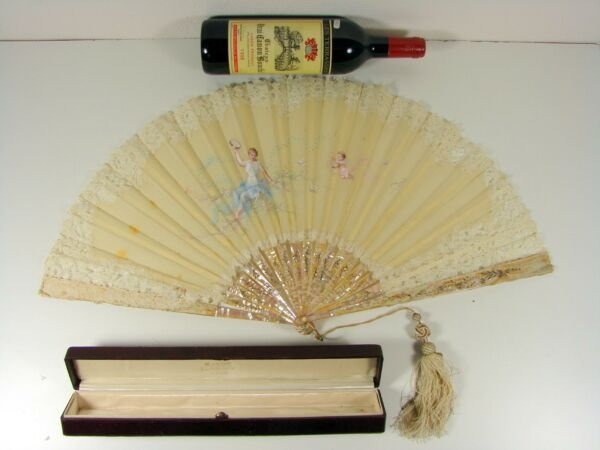HUGE 19thC FRENCH MOTHER OF PEARL HAND PAINTED SILK LACE FAN SIGNED E BAYARD BOX