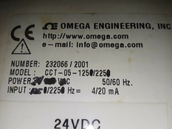 OMEGA ENGINEERING CCT-05 125225 FREQUENCY INPUT SIGNAL CONDITIONER 24 Vdc