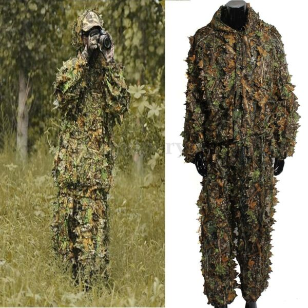 3D Camouflage Leaf Clothing Woodland Jungle Hunting Camo Sniper Suit US