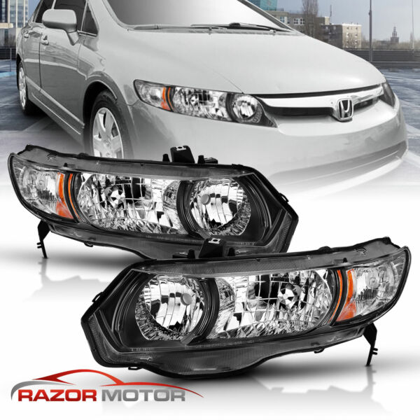 2006 2011 Black Replacement Headlight Pair For Honda Civic 2Dr Coupe Si DX LX
