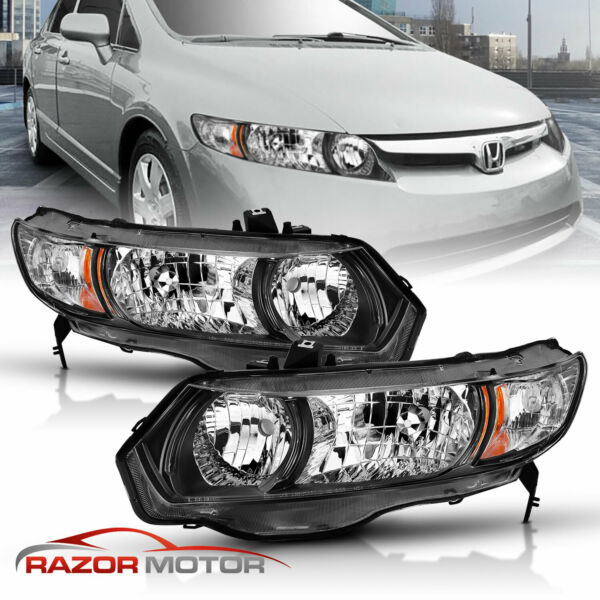 2006-2011 Black Replacement Headlight Pair For Honda Civic 2dr Coupe Si DX LX