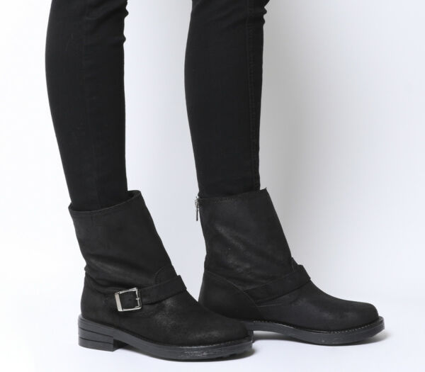 Womens Office Automatic Biker Boots Black Boots