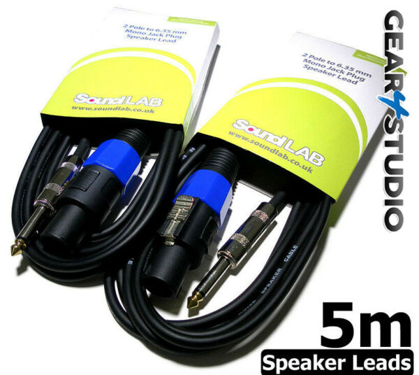 Pair 5m Speaker Lead Cable SPK-ON to 6.35 Jack Passive lead PA Amplifier Stage