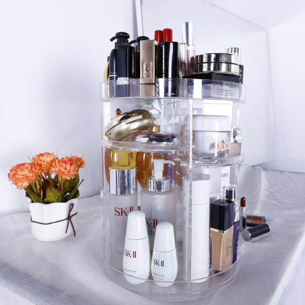 360 Degree Rotating Makeup Cosmetic Rack Holder Organizer Storage Box Case Clear