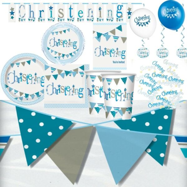 Blue Bunting Christening Party Supplies Tableware Decorations & Balloons