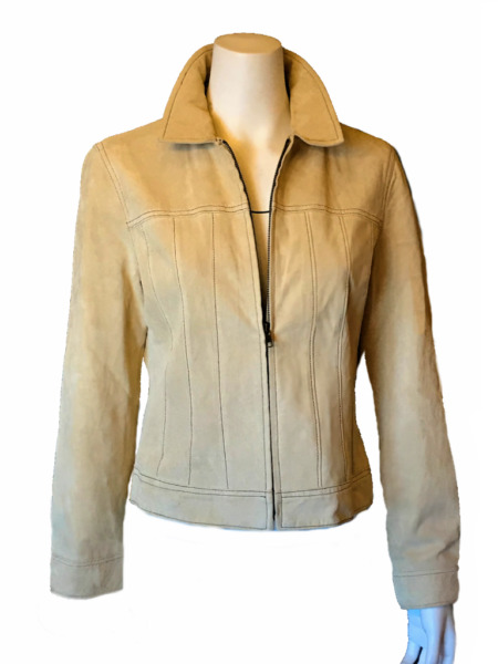Willi Smith Nubuck Leather Zip Front Lined Stitch Detail Jacket Womens M Camel