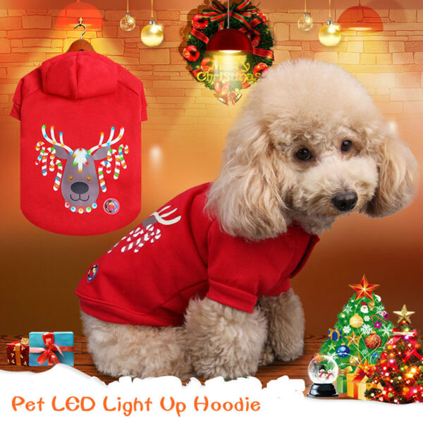 Pet Christmas Hoodie Dog Cat LED Light Up Sweater Xmas Costumes Winter Clothes $13.70