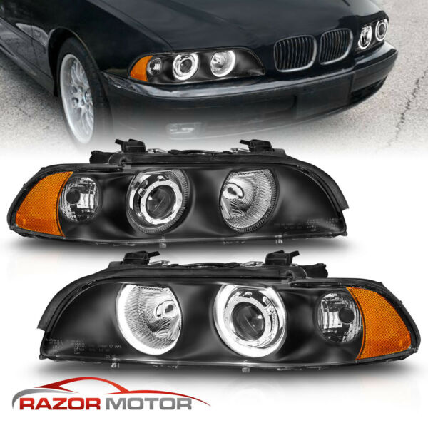1997-2003 Black Dual Halo Projector Headlights For BMW E39 5-Series 528i/540i