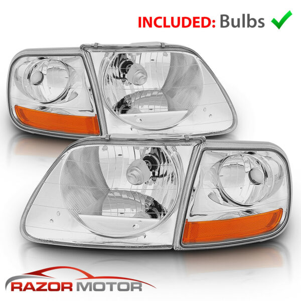 For 97-0302 Ford F150Expedition Lightning Style Chrome Headlight + Corner Pair