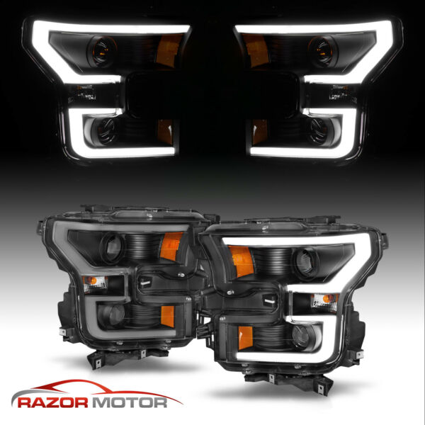2015-17 Black [Euro LED Bar] Dual Projector Headlights Pair For Ford F150 F-150