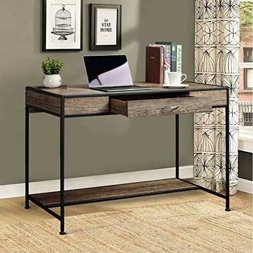 Large Industrial Writing Desk With Drawer Rustic Home Office Metal Wood Work New