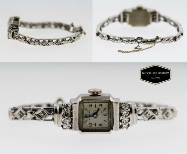 Ollendorff Vintage 1930s .60ctw Diamond 14K White Gold 14.5mm Ladies' Watch