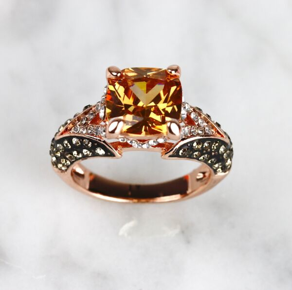 Cushion Cut Champagne & Chocolate CZ Rose Gold Plated Women Fashion Ring