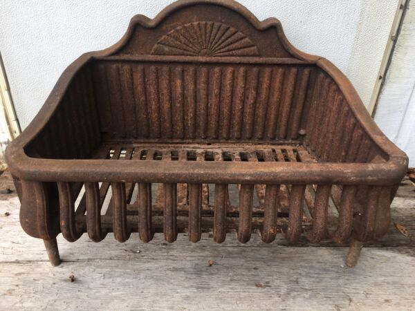 Antique Cast Iron Fireplace Basket Coal Box Wood Log Holder Insert