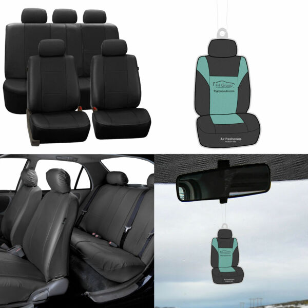 Faux Leather Seat Covers For Auto Car SUV Solid Black w Accessories  Free Gift