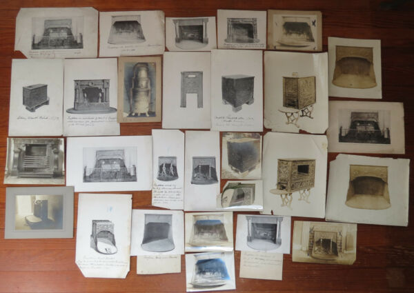 26 ANTIQUE FIREPLACE & 6 PLATE STOVES in PHOTOS & BOOK PLATES w Furnace Notes