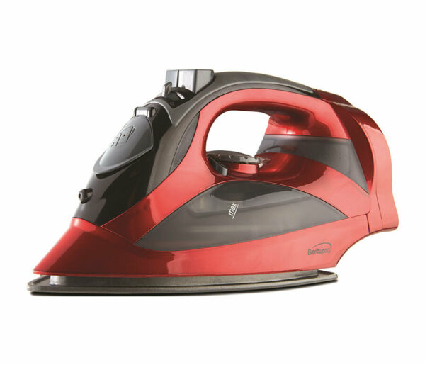 BRAND NEW Brentwood MPI-59R Non-Stick Steam Iron with Retractable Cord Red