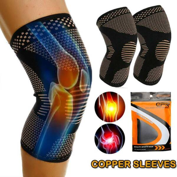 Copper Knee Brace Support Compression Sleeve For Joint Pain Arthritis Relief SFC