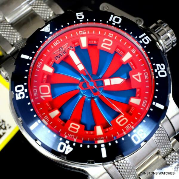 Invicta Coalition Forces Turbine Automatic Steel Red Blue 52mm Watch New