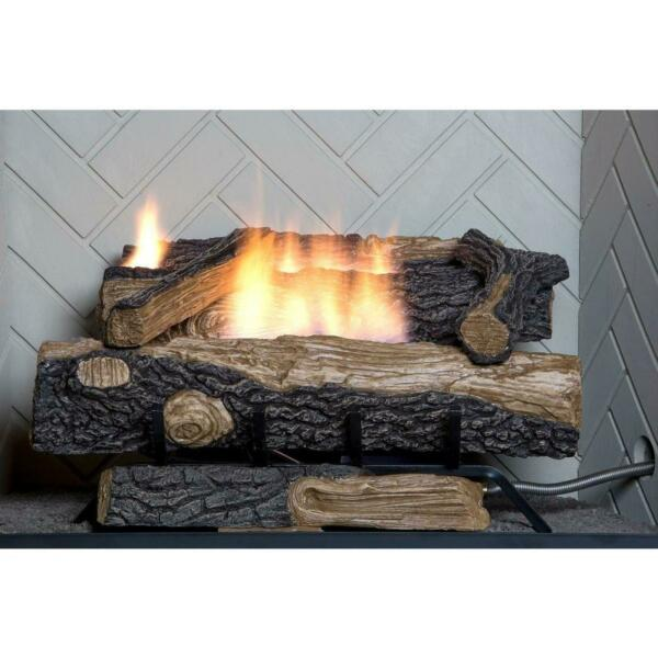 Emberglow Propane Gas Fireplace Logs Oakwood 24 In. Ventless With Thermostatic