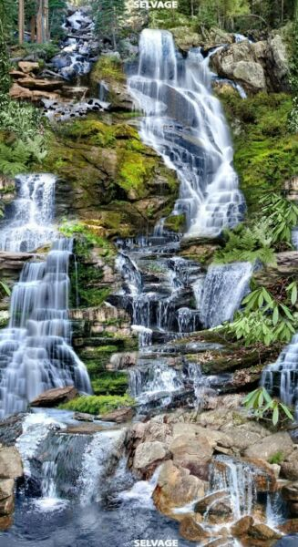 Timeless Treasures Beautiful Waterfall Water Scenic Cotton fabric by the panel