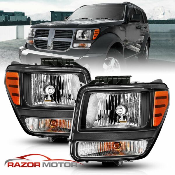 2007-2011 Replacement Headlights Headlamps Left+Right Pair for Dodge Nitro New