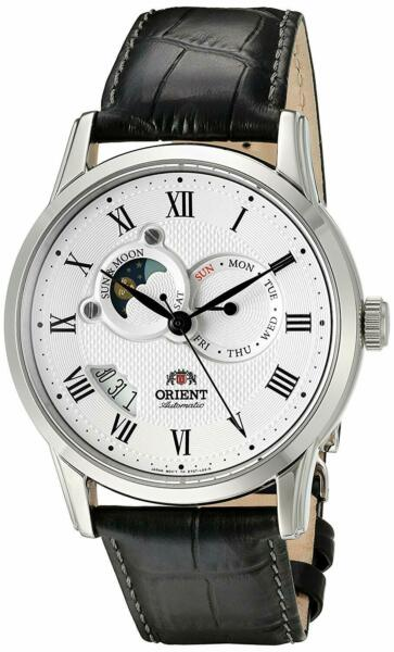 Orient FET0T002S Sun and Moon Version 2 Automatic White Dial Black Leather Watch