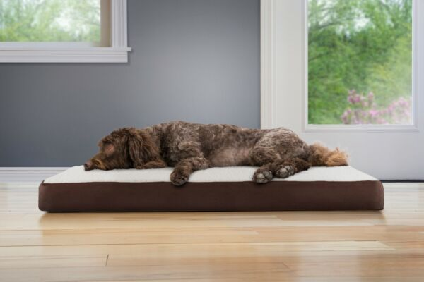 FurHaven Pet Cooling Orthopedic Memory Foam Sherpa amp; Suede Deluxe Dog Bed $34.99