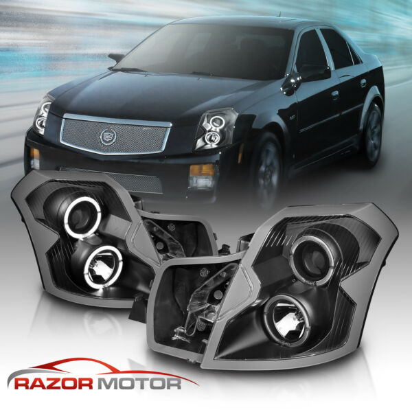 [Dual LED Halo] 2003 2004 2005 2006 2007 Cadillac CTS Black Projector Headlights