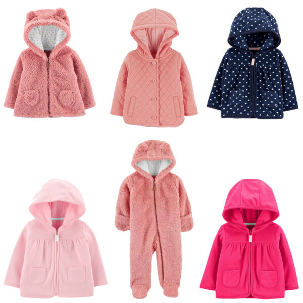 Baby B#x27;gosh Carters Sherpa Pram or Jacket Baby Girls Fleece or Quilted New