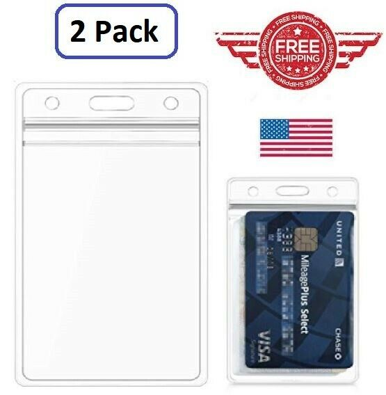 ID Card Holder Clear Plastic Badge Resealable Waterproof Business Case 2 Pack