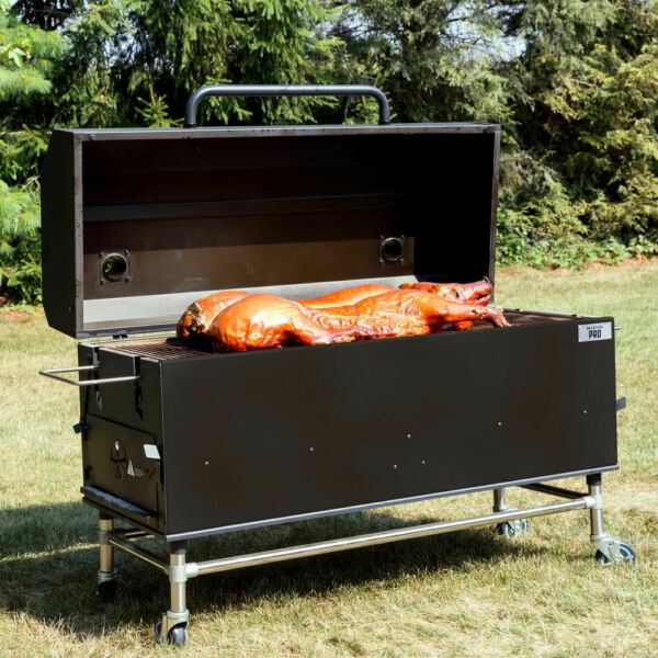 New 60quot; Portable Black Powder Coated Steel Charcoal Wood BBQ Smoker