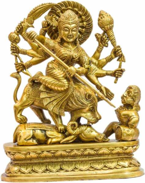 Antique brass india hand made hindu goddess religious durga statue idol 14