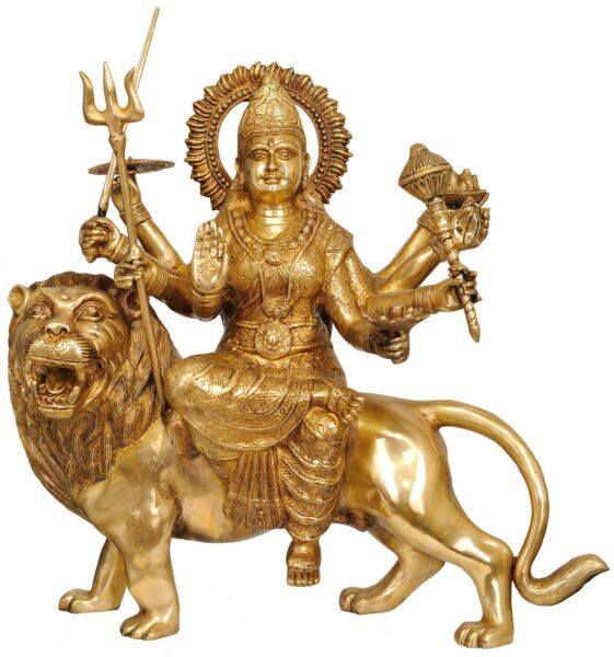 Big India Hindu Goddess Maa Durga Mounted on Lion Temple Large Size Idol 2 Feet