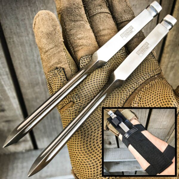 2PC 7quot; Ninja Tactical Throwing Spike Dart Quill Ice Pick Fixed Blade Kunai Knife