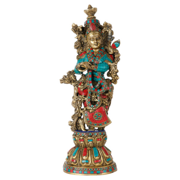 Indian Goddess Radha Statue Brass Inlay Decorative Idol Showpiece 20