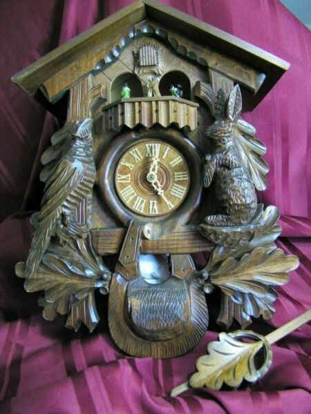 Huge Hand Carved Black Forest German Musical Hunters Eight Day Cuckoo Clock