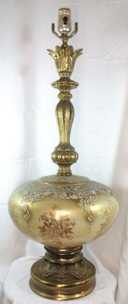 vintage Hollywood Regency Art Glass Table Lamp Cream to Gold Lace Painted Ornate