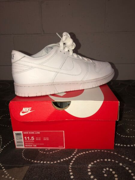 Nike Dunk Low Mens Leather Basketball Lifestyle Shoes Size 11.5 White 904234-100