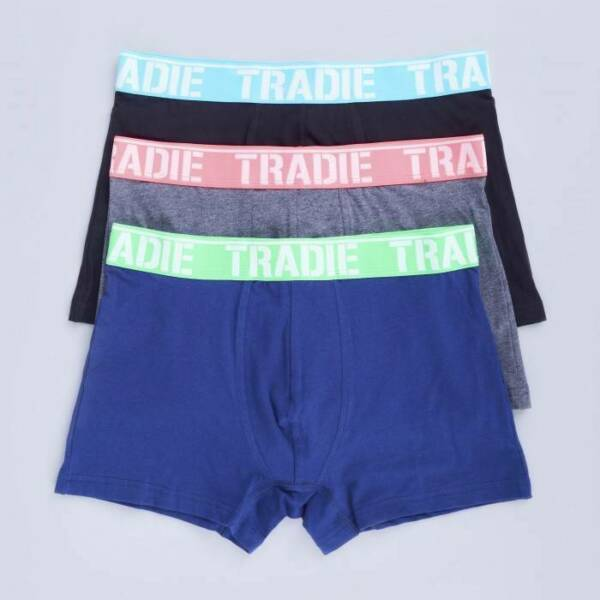 Mens 3 Pack Tradie S-2XL Cotton Boxer Shorts Fitted Trunk Mixed Burst (4WK3)