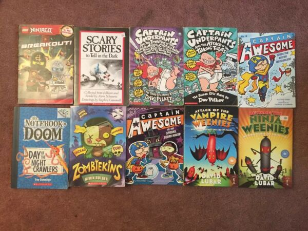 10 Book Lot Captain Underpant Vampire Weenies Captain Awesome Zombiekins Great