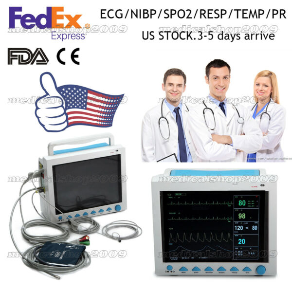 US Fedex CMS8000 Portable Vital Signs ICU CCU Patient Monitor(6-parameters)